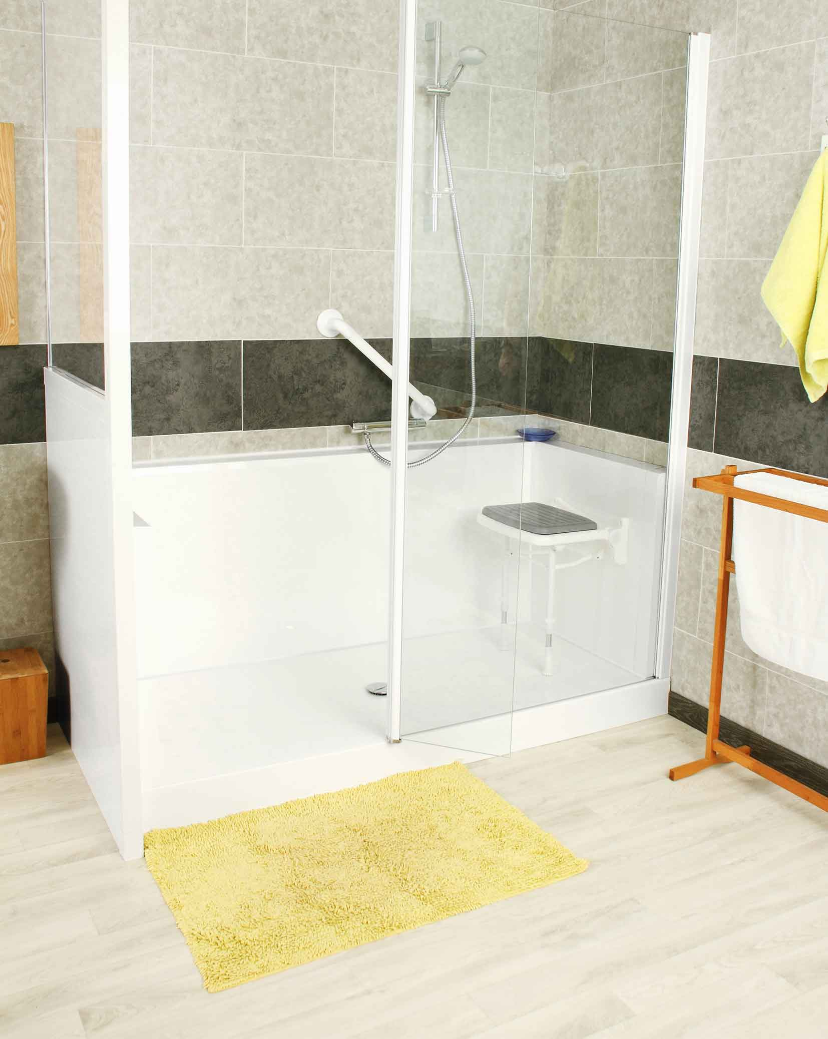 Siège de douche mural relevable ou pivotant, siège de baignoire