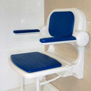 Siège de douche rabattable bleu