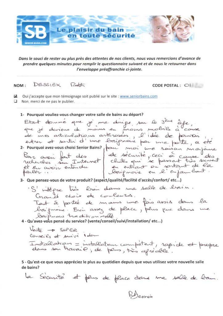 TÉMOIGNAGE de Mme DESSIEX (01), le 06/12/2012