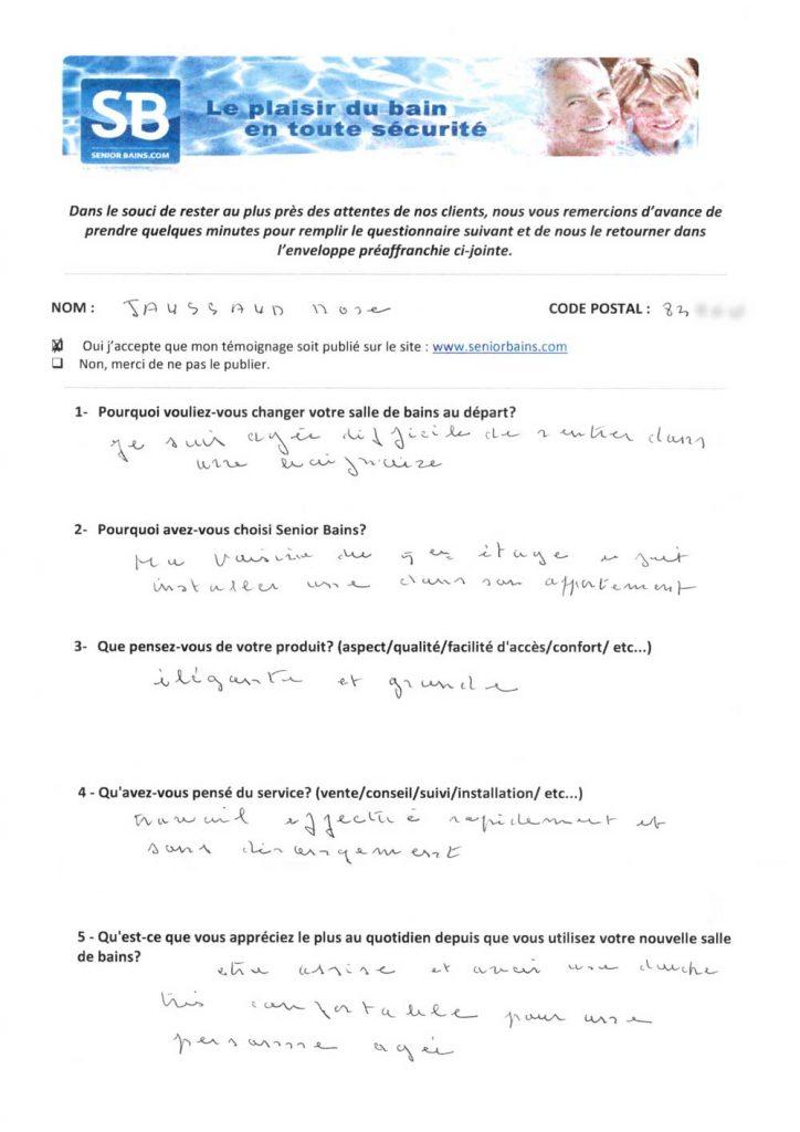 TÉMOIGNAGE de Mme JAUSSAUD (83), le 05/08/2014