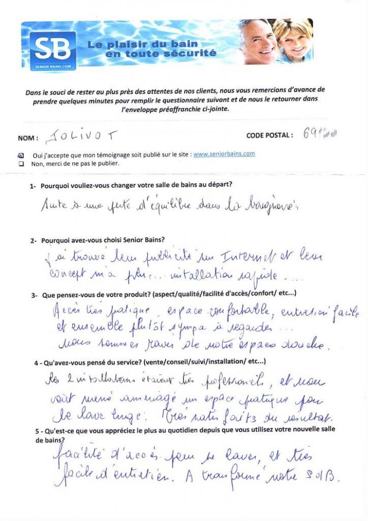 Témoignage de Mr et Mme JOLIVOT (69) , le 12/10/2015