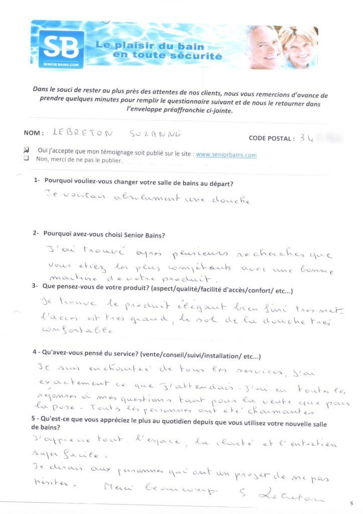 TÉMOIGNAGE de Mme LEBRETON (34), le 20/08/2012