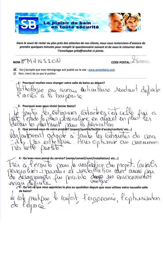 TÉMOIGNAGE de Mme MANSION (25), le 06/01/2015