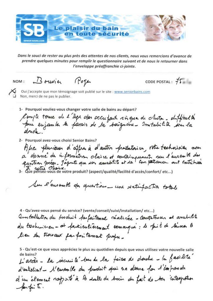 TÉMOIGNAGE de Mr BOUVIER (75), le 15/01/2013