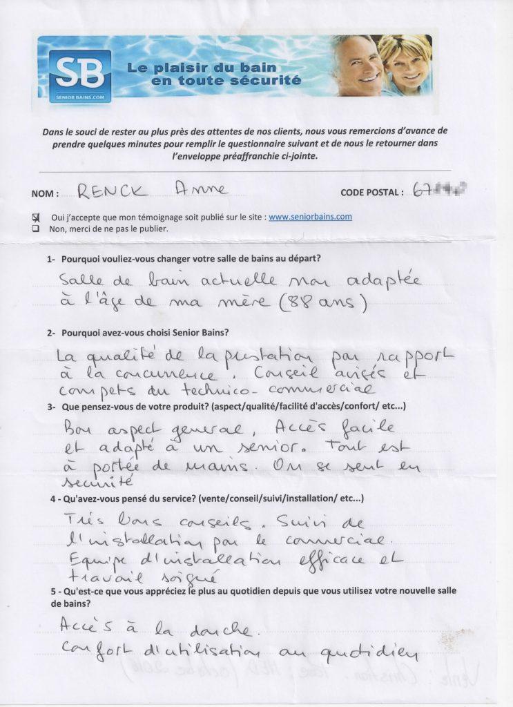 Témoignage de Mme RENCK (67), le 09/02/2017